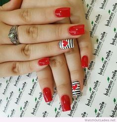 Botanic nails red, white, black lines – Watch out Ladies Valentine's Day Nail Designs, White Nail Designs, Nails Design, Heart Nail Designs, Red Nail Art, Red Nails, Polish Nails, Red Polish, White Polish