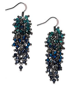 c.A.K.e. by Ali Khan Earrings, Hematite-Tone Multicolor Clustered Glass Bead Peacock Drop Earrings - Fashion Jewelry - Jewelry & Watches - Macy's $18