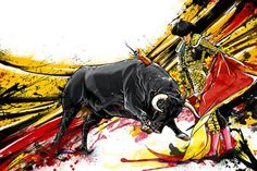 Bull Fighter Graphic Art on Canvas