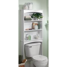 Three-Shelf Wood Bathroom Spacesaving Unit, White