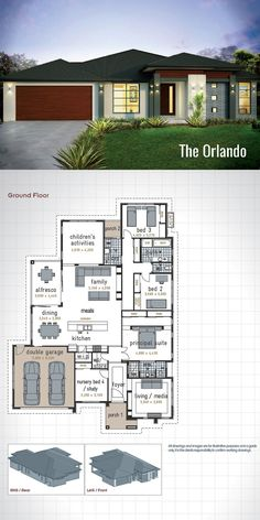 Single Storey House Design - The Orlando. Designed with the family in mind this modern floor plan will meet the needs of everyone in the family. 4 Wardrobes, 2 Bathrooms, Double Garage, Alfresco Dining Area, and 3 Living Areas. A gen Modern House Floor Plans, Home Design Floor Plans, Dream House Plans, Small House Plans, Modern House Design, Single Storey House Plans, One Storey House, 4 Bedroom House Plans, French Country House Plans