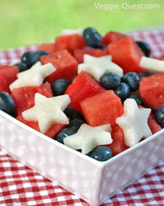 Easy Red, White, and Blue Salad with jicama stars, watermellon, and blueberries. Mighty fine!