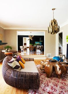 9 Must-Haves for a California Eclectic Home// Cuff Home, brutalist chandelier, wood coffee table