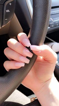 Light pink coffin nails #AcryllicCoffinNails