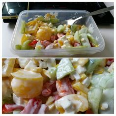 250 kcal salad plus dressing. For two servings I use: 1 cucumber, 2 peppers, 200g sweet corn. Keeps fresh in the fridge for several days - add dressing before eating.