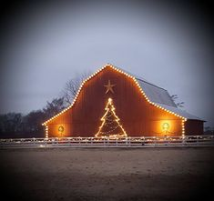 Red barn outlined with Christmas Lights - and even has a Holiday Tree outlined in lights too! A beacon of Joy throughout the Winter Season! Outdoor Christmas Decorations, Christmas Lights, Tree Outline, Barn Pictures, Country Barns, Country Life, Country Roads, Christmas Scenes, Christmas Time