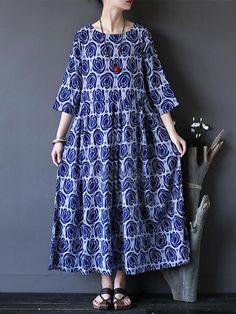 O-NEWE Vintage Flower Printed Half Sleeves O-neck Dresses - Banggood Mobile