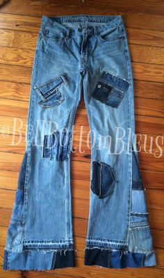 Bell Bottoms Custom Patchworked Denim Jeans by BellBottomBleus Denim Jeans, Jeans Rock, Old Jeans, Denim Coat, Jeans Pants, Custom Clothes, Diy Clothes, Jeans Refashion, Embellished Jeans