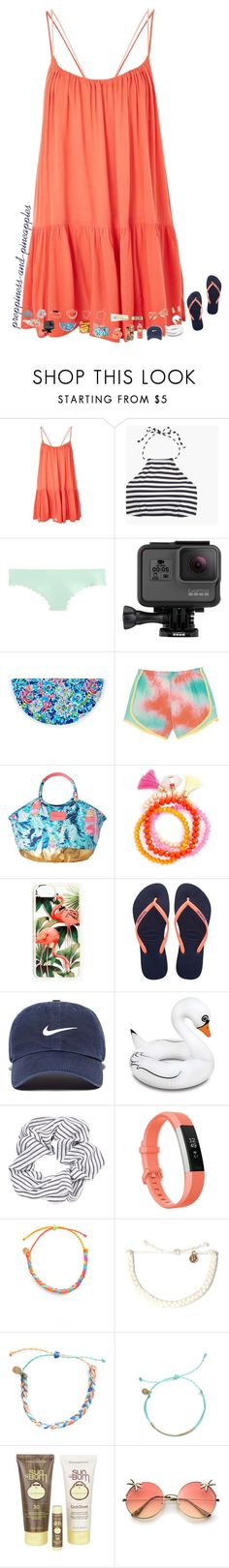 """✧ and I'm back!"" by preppiness-and-pineapples ❤ liked on Polyvore featuring Topshop, J.Crew, GoPro, Lilly Pulitzer, Panacea, Madewell, Havaianas, NIKE, BigMouth and Fitbit"