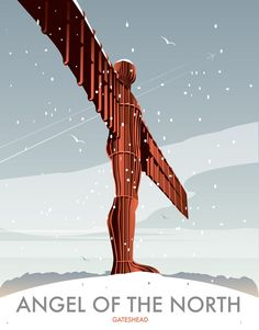 Angel of the North Winter Art Print Art Posters, Travel Posters, Vintage Posters, Poster Prints, Art Prints, Northumberland England, Northern Exposure, Angel Of The North, Beautiful Places To Live