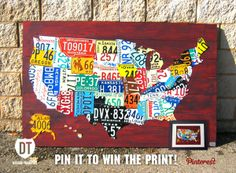 Red License Plate Map Of The USA In Car Themed Boys Room License - Us liscense plate map