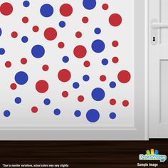 Blue / Red Polka Dot Circles Wall Decals