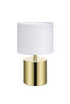 Ines bordlampa från Markslöjd. Metallfot med skärm i textil. Strömbrytare på sladden. Liten lamphållare (E14) för max 40W eller motsvarande i lågenergi, halogen eller LED. 2m textilklädd sladd. #sänglampor #bedlights #lamp #lampa #lights #markslöjd #brass #guld