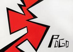 POGO / JAM  NAMING / BRANDING . ILUSTRACIÓN / ILUSTRATION Isologotipo para sello discográfico, de carácter rockero. El espíritu de encuentro, choque y comunión buscan estar presente en esta marca fuerte y pregnante. Diseño I. Fadu, Uba / Mayo 2002