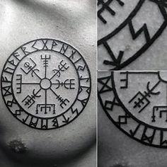 Mens Circular Viking Compass Upper Chest Tattoo