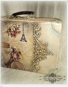 Παλιά βαλίτσα παλιά γαλλική κλίμα - Παρίσι μεταξύ των ανάγλυφα - Decoupage.