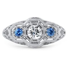 Custom designed Vintage Inspired Sapphire and Diamond Ring #BrilliantEarth