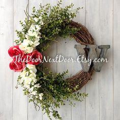 Rose Wreath  Metal Monogram Wreath  Front Door by TheDoorNextDoor