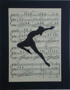 Jazz Dance Silhouette vintage music book page print sheet music art. $8.00, via Etsy.