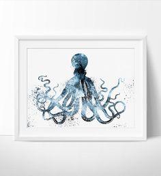 Octopus Art Watercolor Print, Watercolor Painting, Illustration, Home Decor Wall Art, Octopus Print, Watercolor Animal (55)