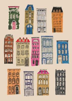 Quirky odd shaped buildings · drawing houses · Inspiration for Illustration + Art + Graphic Design Projects · City Living, Danielle Kroll Illustration Blume, Building Illustration, House Illustration, Illustration Pictures, Illustration Styles, Simple Illustration, Art Doodle, Buch Design, City Living
