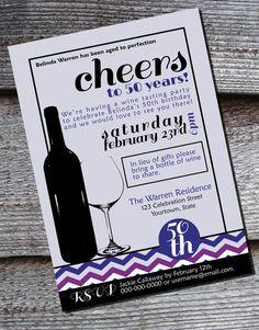 Purple chevron wine tasting milestone birthday party invitation by SimplySoirees