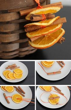 It's that time of year again! Who doesn't love the fall season? Segway into the holidays with this list of 35 DIY Fall Decorating Ideas for the Home. Dried Orange and Cinnamon Ornaments Adult Crafts, Decor Crafts, Holiday Crafts, Diy Crafts, Noel Christmas, Rustic Christmas, Christmas Ornaments, Orange Ornaments, Christmas Images