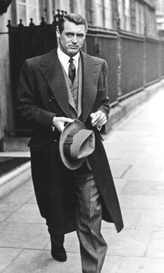 Carey Grant wearing classic 1950's 3 piece suit and coat