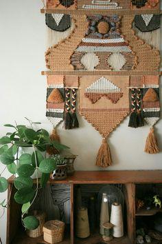 Hoya plant + textured wall hanging