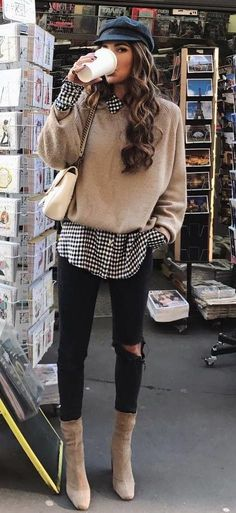 gingham shirt. beige knit. skinny jeans. casual. #streetstyle