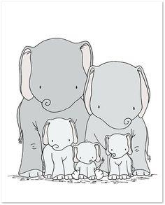Elephant Nursery Art Print -- Elephant Family Art -- Elephant Family of Five -- Kids Wall Art -- Nursery Decor -- Neutral Nursery