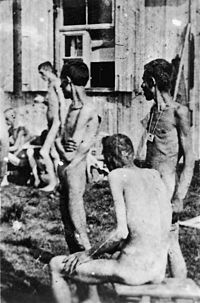 Prisoners of the Buchenwald concentration camp are kept naked while waiting for surgery, April 1945 Photo credit: Jules Rouard — at Buchenwald concentration camp.