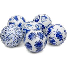 """4"""" Blue & White Decorative Porcelain Ball Set ($40) ❤ liked on Polyvore featuring home, home decor, decor, fillers, christmas, blue, blue centerpieces, ball centerpieces, floral centerpieces and blue home decor"""