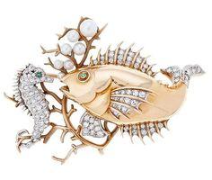 Art Nouveau Jewelry / Broche con motivos del fondo