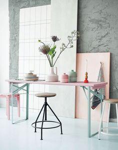 woonkamer - pastel kleuren - hout