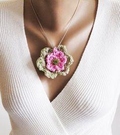 Handmade ribbon necklace crochet necklace mint by selenayselenay, $15.00