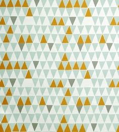 Contemporary Scandinavian Fabric from Spira of Sweden - Jaffa Light Turquoise - pale turquoise, grey and zingy orange triangles print Graphic Patterns, Textile Patterns, Print Patterns, Graphic Design, Textile Design, Graphic Art, Triangles, Scandinavian Fabric, Scandinavian Design