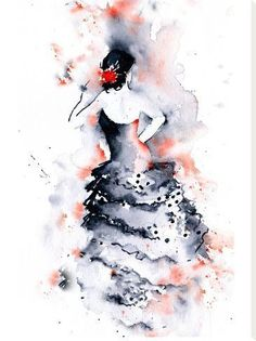 size: Stretched Canvas Print: Flamenco 1 by Rachel McNaughton : Using advanced technology, we print the image directly onto canvas, stretch it onto support bars, and finish it with hand-painted edges and a protective coating. Watercolor Dancer, Watercolor Sketchbook, Watercolor Fashion, Abstract Watercolor, Watercolor Flowers, Watercolor Paintings, Watercolour, Dance Paintings, Flamenco Dancers