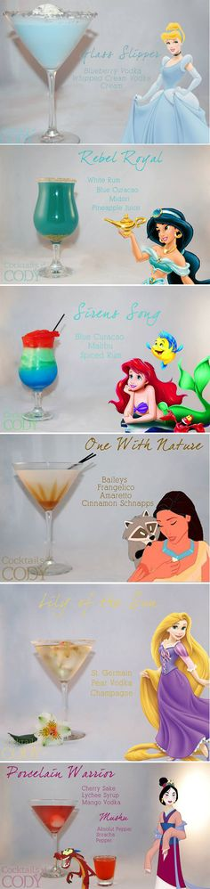 I'm loving this series of Disney character inspired cocktails. Whether you relate to Ariel's adventurous sensibilities or yearn for the luxe life like Cinderella — there's a Disney princess themed cocktail for you. Cocktails by Cody, a Washington based mixologist has created some absolutely delicious drink recipes inspired by your favorite damsels in distress, as well as some of their BFFs and evil counterparts.