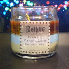Dementor repelling chocolate is the top layer of this candle inspired by the loved and cursed man, Remus Lupin. The middle is the enchanting scent of the Wolfsbane Potion that he must take monthly to help him hold onto his mental faculties during his transformation. The bottom layer is the dusty a