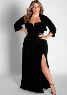 Black Plus Size Evening Dress Gown