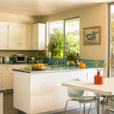 Color accents accent walls and turquoise lamp on pinterest for Sample kitchen color schemes
