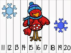 Winter Fun Number Puzzles {differentiated for all learners, counting by 1's and 10's}