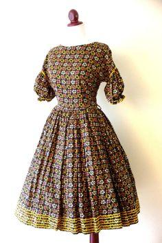 Vintage 1950s Rick Rack Floral Party Dress by RetroKittenVintage, $75.00