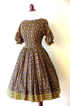 Vintage 1950s Rick Rack Floral Party Dress by RetroKittenVintage, $86.00