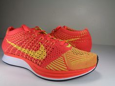 2a1514abb4a1 Nike Flyknit Racer Bright Crimson Volt Orange 526628 601