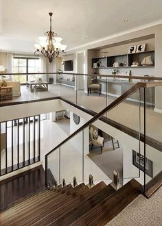 Visualization for Family House with Cream Color Interior in Greenvale, Australia… - House design Interior Design Your Home, Home Stairs Design, Dream House Interior, Luxury Homes Dream Houses, Home Room Design, Dream Home Design, Color Interior, Staircase Glass Design, Family Room Design With Tv