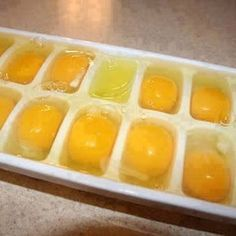 Freezing Eggs - When you find a sale on eggs, you can freeze them to store for baking and cooking later. Eggs can not be frozen in the shell... but can be out of the shell. Crack a single egg into each slot in an ice cube tray. Freeze, then pop out and put back into the freezer in a zip lock bag freeing up your ice cube trays for other purposes. To use simply leave a cube per each egg the recipe calls for sitting at room temp in a bowl to defrost.