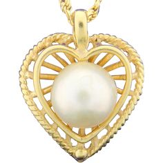 Heart Pendant with Pearl and Chain found at www.rubylane.com @rubylanecom