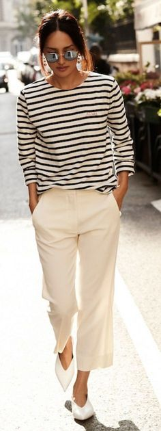 #summer ##fashion #lovely #outfits |  Striped Top + White Pants